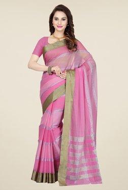Ishin Pink Striped Cotton Saree