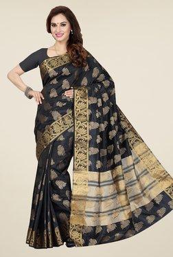 Ishin Black Printed Poly Tussar Silk Saree