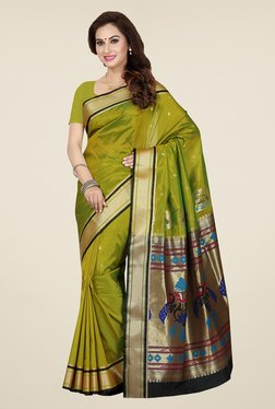 Ishin Green Printed Poly Silk Saree