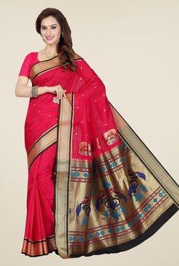 Ishin Pink Printed Poly Silk Saree