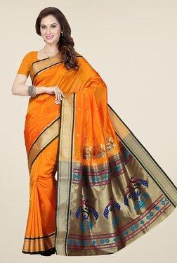 Ishin Orange Printed Poly Silk Saree