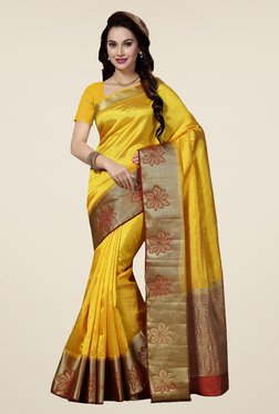 Ishin Yellow Printed Poly Cotton Saree
