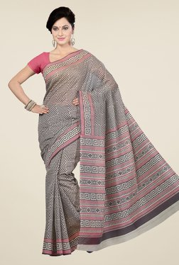 Ishin Beige & Black Geometric Print Gadwal Cotton Saree