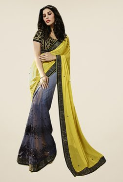 Ishin Grey & Yellow Embellished Georgette Saree