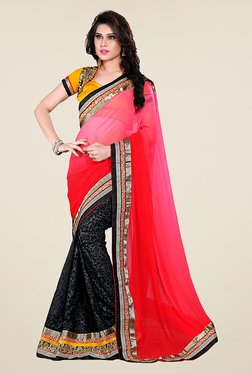 Ishin Black & Pink Printed Georgette Saree