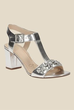 Clarks Deva Daisy Silver Ankle Strap Sandals
