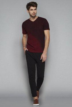 ETA By Westside Maroon Slim Fit Textured T Shirt
