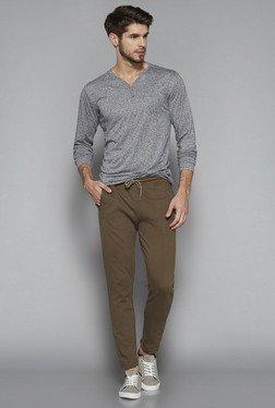 ETA By Westside Brown Slim Fit Textured Pants