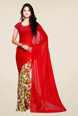 Ligalz Off White & Red Floral Print Chiffon Saree
