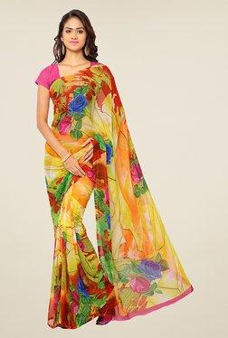 Ligalz Yellow Floral Print Chiffon Saree