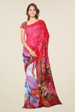 Ligalz Blue & Pink Floral Print Chiffon Saree
