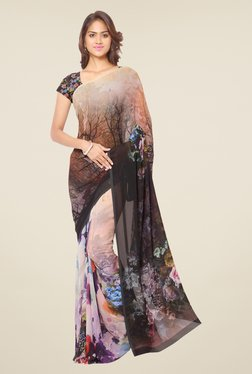 Ligalz Beige & Black Floral Print Chiffon Saree