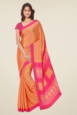 Ligalz Orange Printed Silk Saree