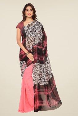 Ligalz Pink & Black Printed Saree