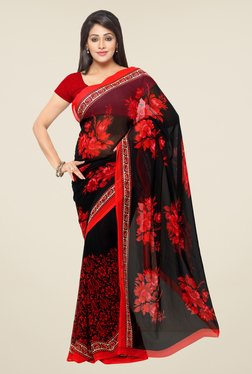 Ligalz Black & Red Floral Print Saree