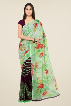 Ligalz Purple & Green Printed Chiffon Saree