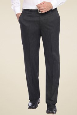 Raymond Grey Regular Fit Flat Fronts Trouser