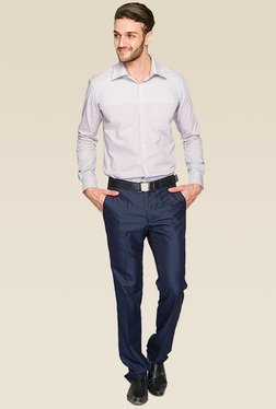 Raymond Blue Flat Front Slim Fit Trouser