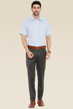 Raymond Grey Flat Front Slim Fit Trouser