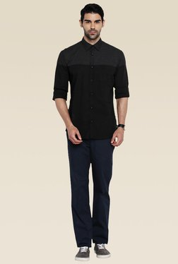 Parx Black Slim Fit Cotton Shirt