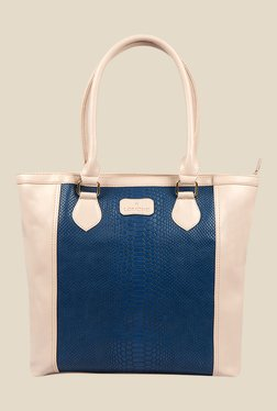 Lomond LM17 Beige And Blue Textured Shoulder Bag