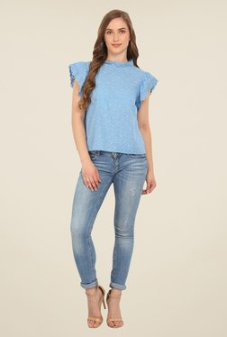 Honey & B Blue Embroidered Top