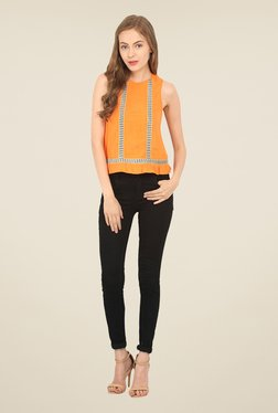 Honey & B Orange Lace Crop Top