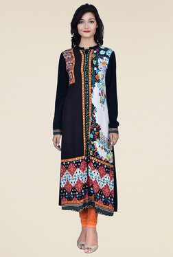 Juniper Black Full Sleeves Kurta