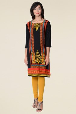 Juniper Black Round Neck Kurta