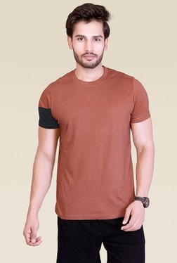 Lucfashion Brown Half Sleeves Printed Cotton T-Shirt