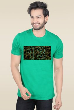 Lucfashion Green Half Sleeves Graphic T-Shirt