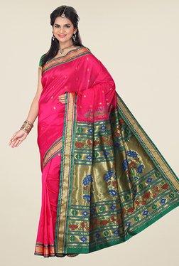 Ishin Pink & Green Printed Tana Silk Paithani Saree