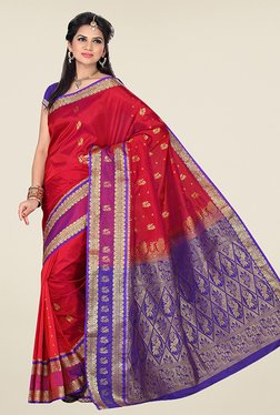 Ishin Red & Purple Printed Tana Silk Kanjeevaram Saree