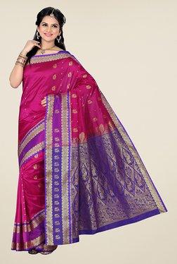 Ishin Pink & Purple Printed Tana Silk Kanjeevaram Saree