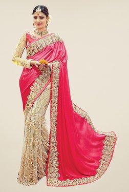Ishin Beige & Pink Embellished Pure Satin Silk Saree