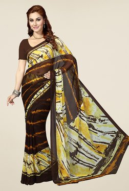 Ishin Brown Printed Faux Georgette Saree