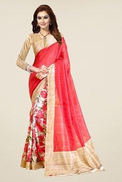 Ishin Off White & Coral Floral Print Bhagalpuri Silk Saree