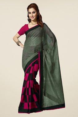 Ishin Pink & Grey Checks Bhagalpuri Silk Saree