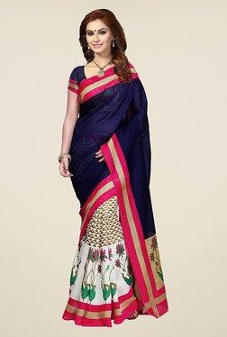 Ishin White & Navy Printed Bhagalpuri Silk Saree