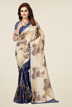 Ishin Navy & Beige Floral Print Bhagalpuri Silk Saree