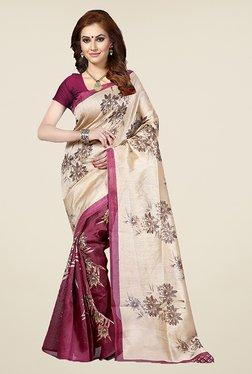 Ishin Purple & Beige Floral Print Bhagalpuri Silk Saree