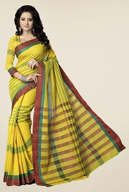 Ishin Yellow Striped Poly Cotton Saree