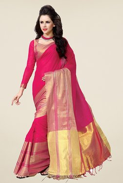 Ishin Pink Solid Poly Cotton Saree