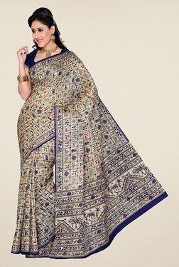 Ishin Beige & Navy Printed Bhagalpuri Silk Saree