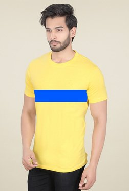 Lucfashion Yellow Scoop Neck Cotton T-Shirt
