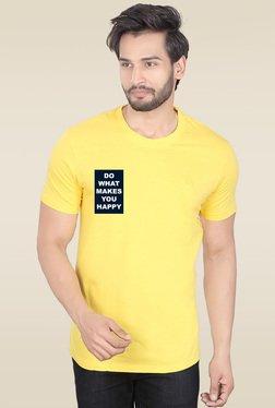 Lucfashion Yellow Half Sleeves Cotton T-Shirt
