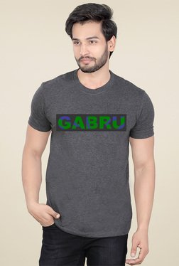 Lucfashion Grey Round Neck Cotton T-Shirt