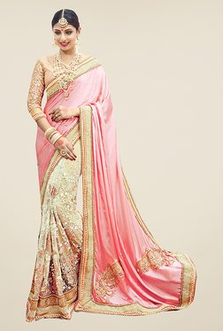 Ishin Beige & Pink Embroidered Pure Satin Silk Saree