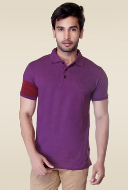 Lucfashion Purple Half Sleeves Printed Cotton T-Shirt - Mp000000000843859