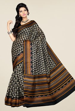 Ishin Beige & Black Printed Bhagalpuri Silk Saree